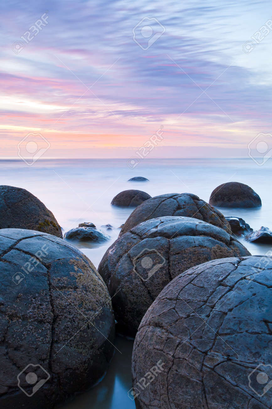 Moeraki Boulders at Sunrise South Island New Zealand Stock Photo - 13211298