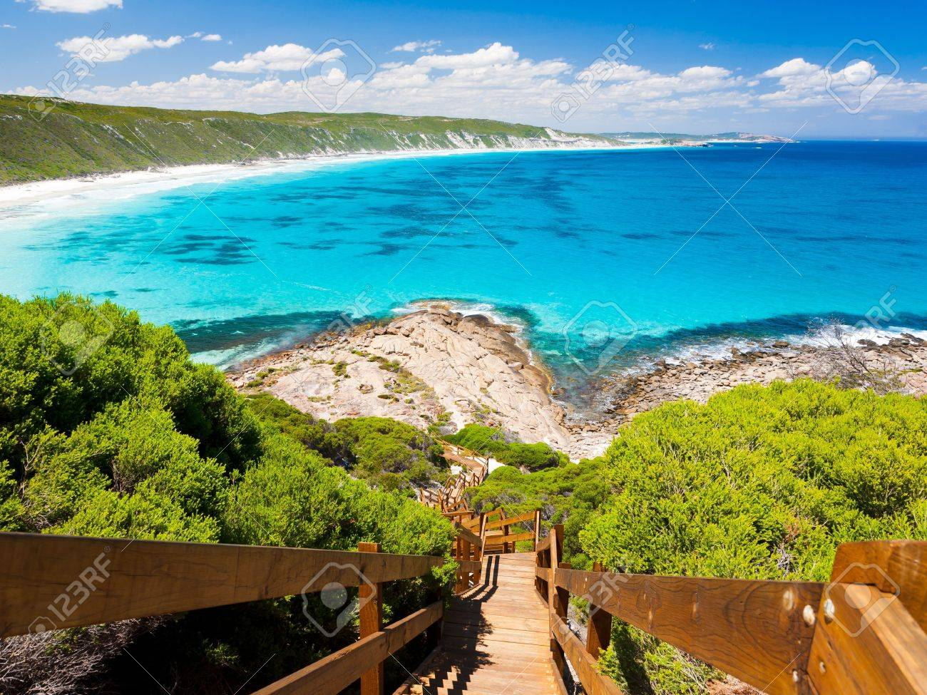 Wooden path at Observatory Point Great Ocean Drive Western Australia Stock Photo - 13212344