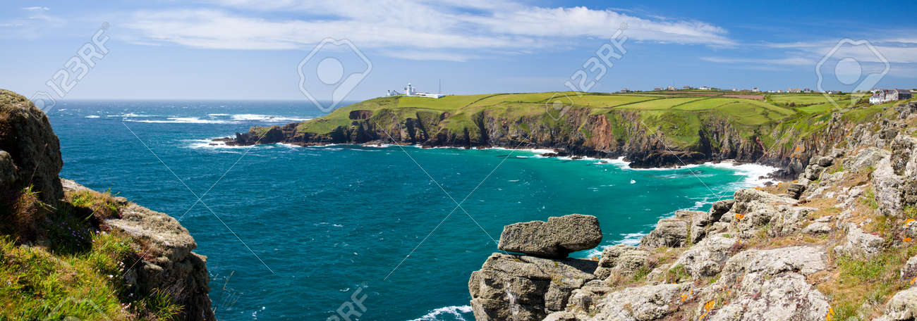 Panoramic Shot Of Housel Bay Cornwall England With Lizard Point ...