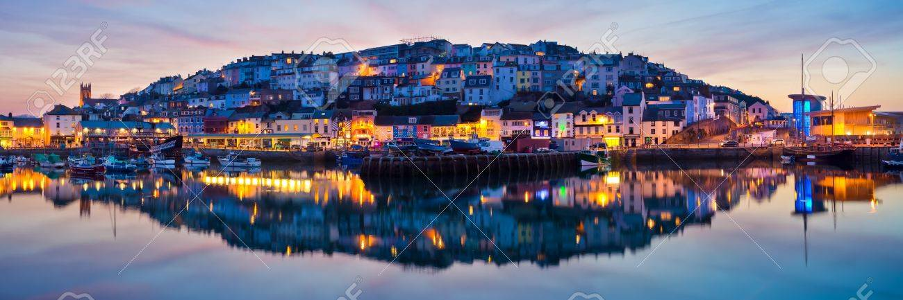 Panorama of Brixham Harbour at Sunset  Devon England UK Stock Photo - 13212577