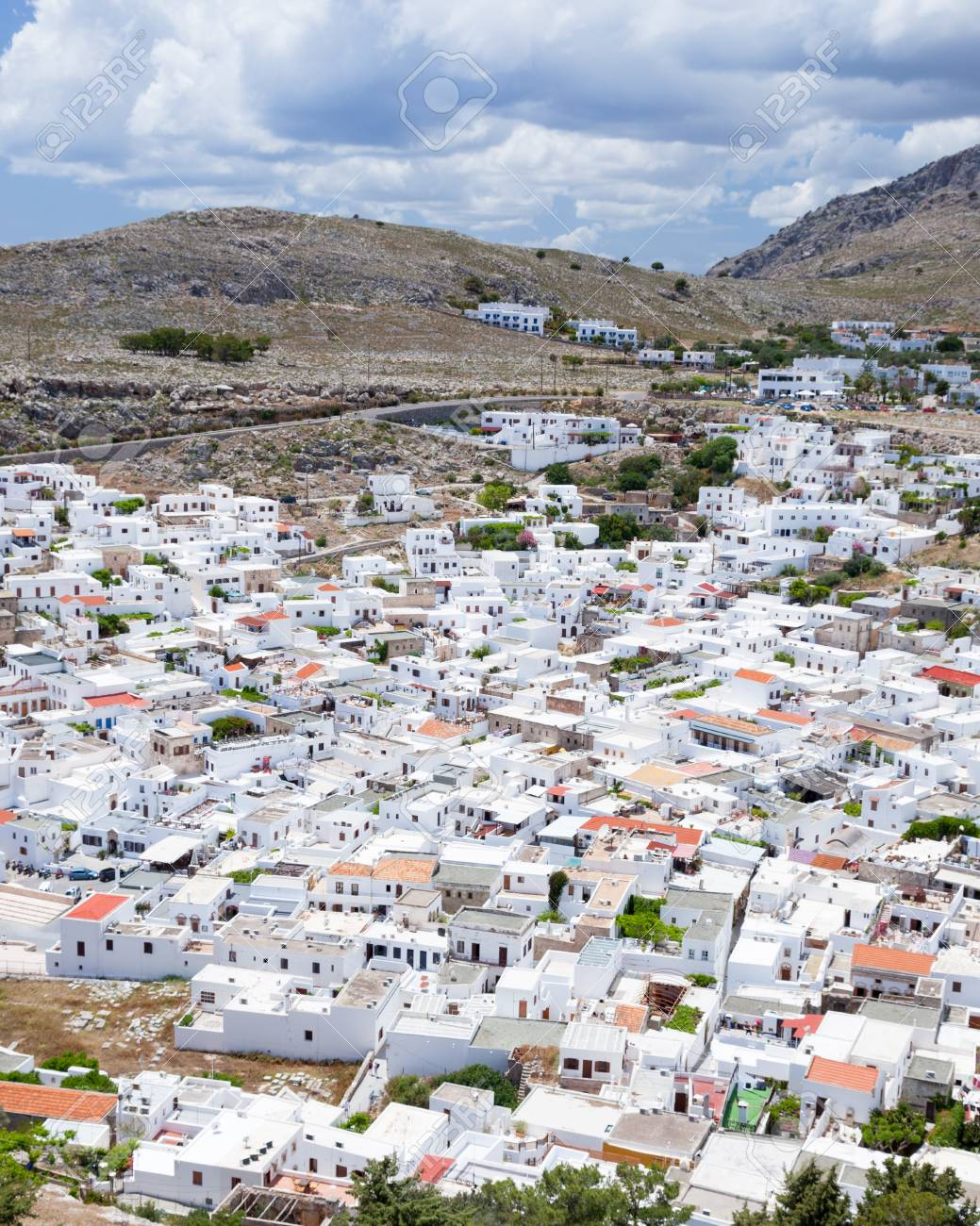View down on to the pretty white buildings of Lindos on the Island Of Rhodes Greece Stock Photo - 13761182