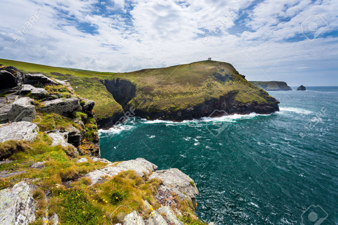 The harbour entrance and dramatic scenery at Boscastle Cornwall