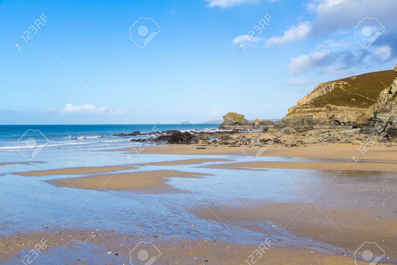 The beach at Trevaunance Cove St Agnes, Cornwall England UK Stock Photo - 16159709