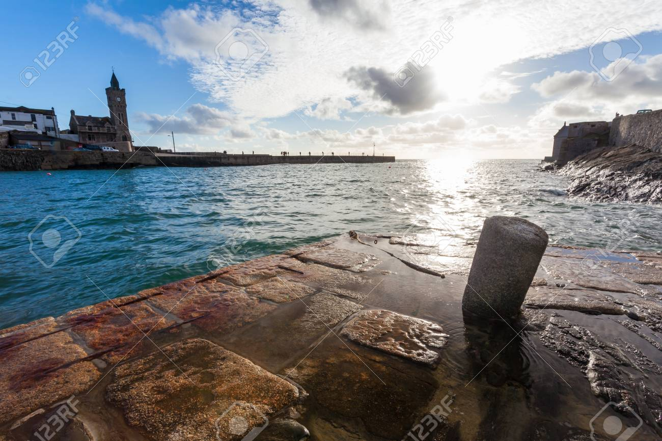 The harbour entrance at Porthleven Cornwall England UK Stock Photo - 16549190