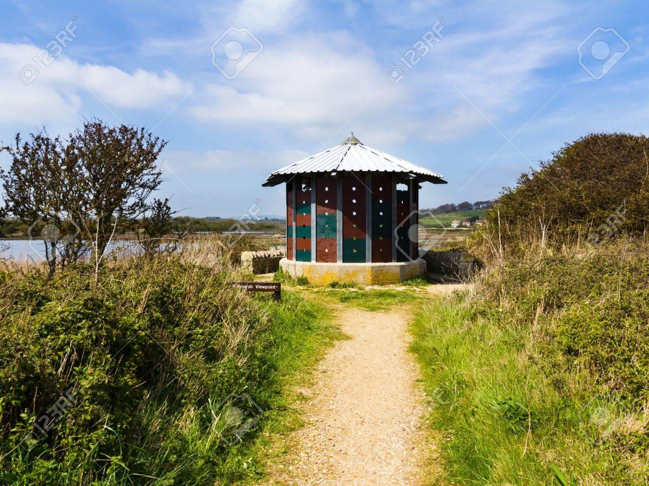 Saltmarsh lookout at Lodmoor Nature Reserve Weymouth Dorset England