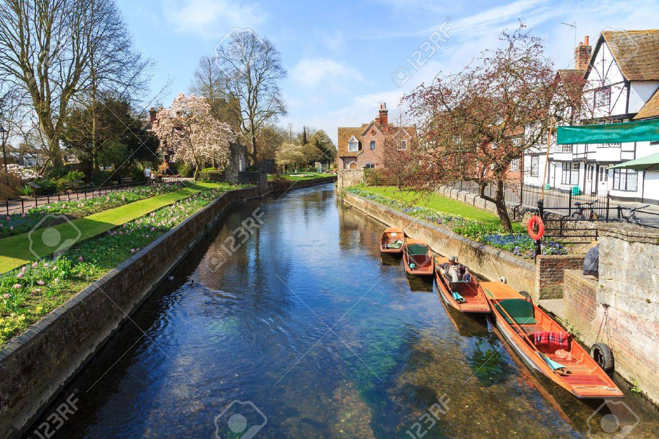 Riverside scenery on the River Stour at Canterbury Kent England UK Stock Photo - 21361155