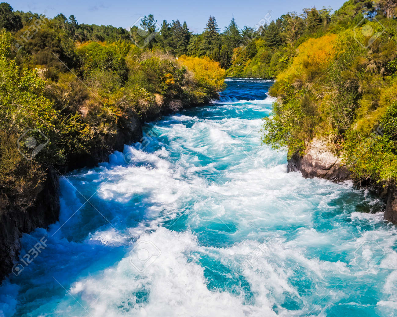 Powerful Huka Falls on the Waikato River near Taupo North Island New Zealand Stock Photo - 24883314