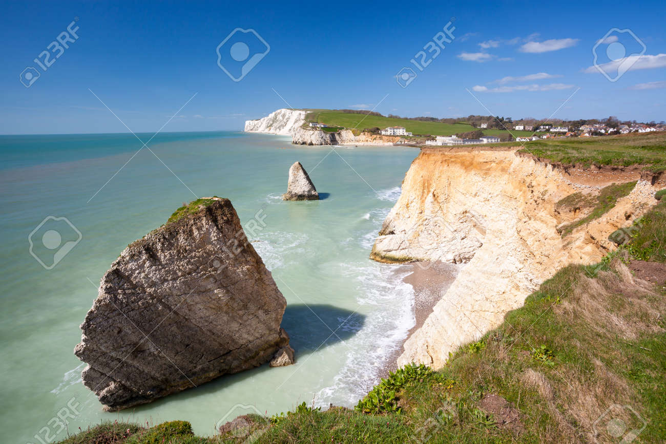 Dramatic chalk cliffs at Freshwater Bay on the Isle Of Wight England UK Europe Stock Photo - 27769354
