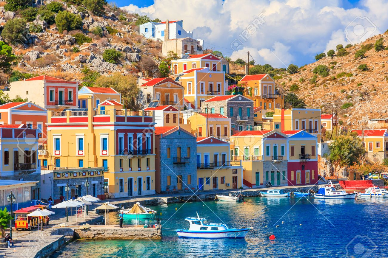 Beautiful summers day on the Greek island of Symi in the Dodecanese Greece Europe Stock Photo - 33482673