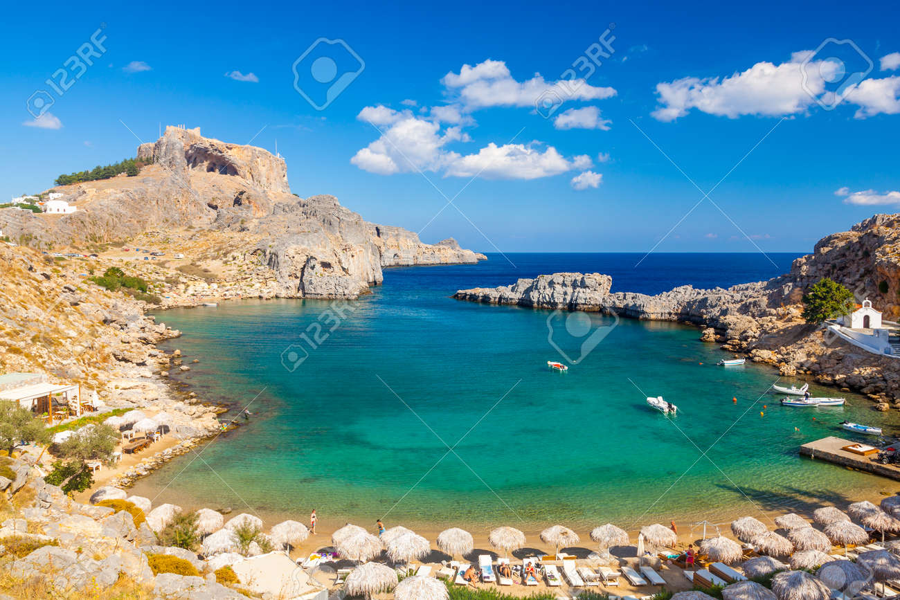 Beautiful cove at St Pauls Bay Lindos Rhodes Greece Europe Stock Photo - 33856541