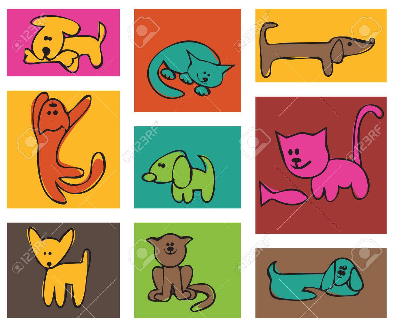 Infantiles Habían Estilizado Dibujo Perros Y Gatos Un Conjunto De Tarjetas