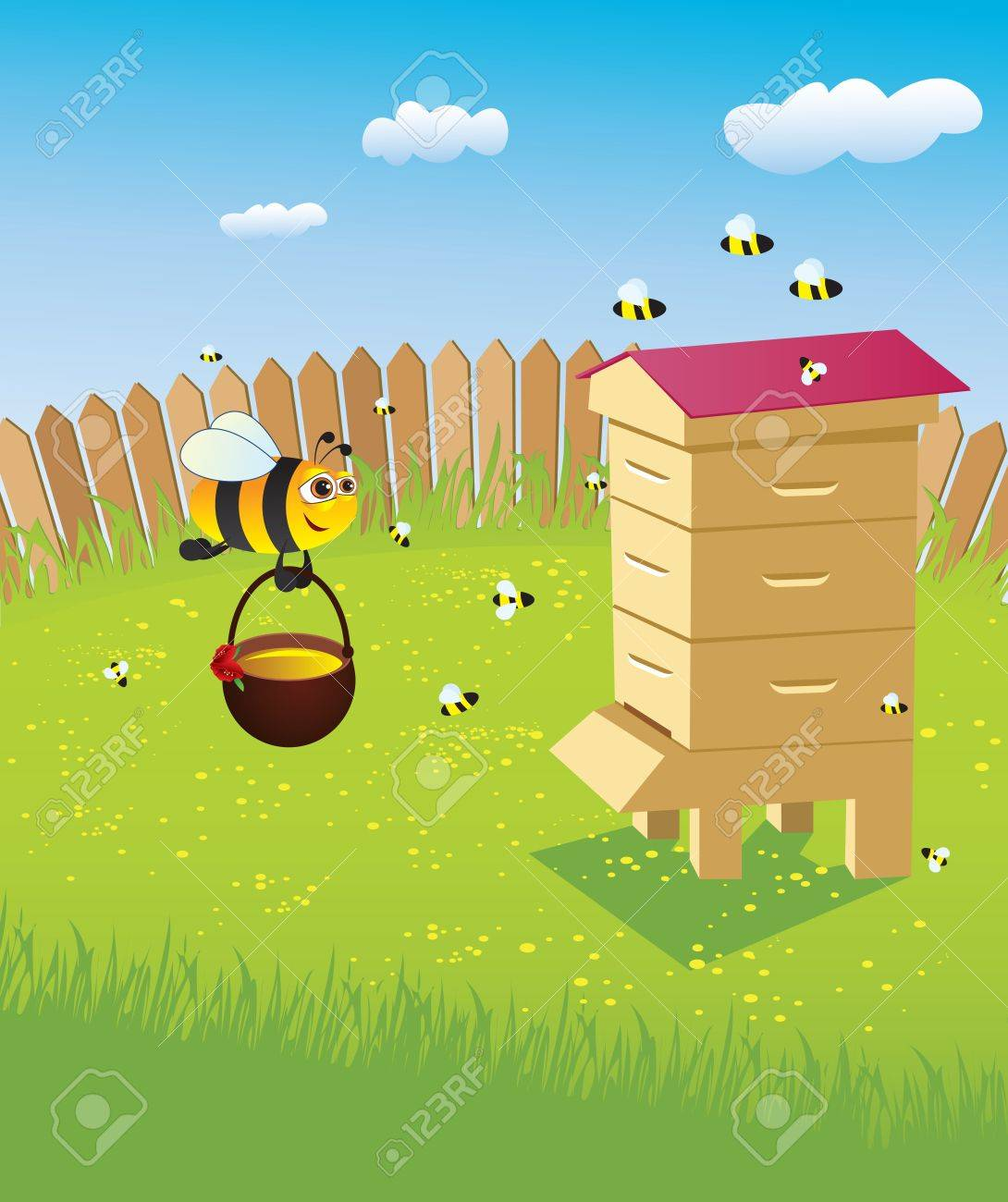 Beehive and bees. Apiary on the lawn Stock Vector - 8553146