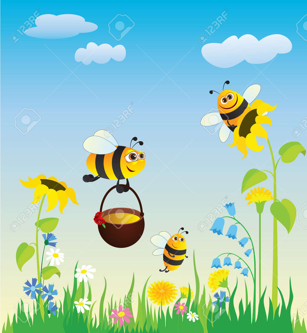 Flowering Meadow And The Bees Collecting Honey Stock Vector