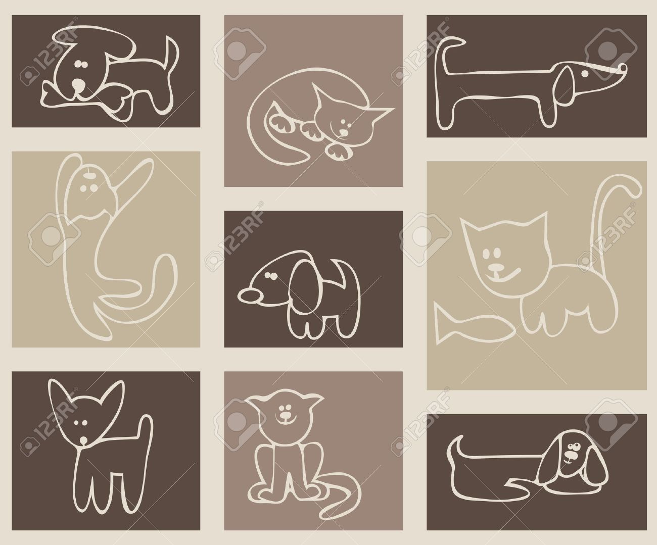 Children's stylized drawing. Cats and dogs. A set of cards Stock Vector - 8825192