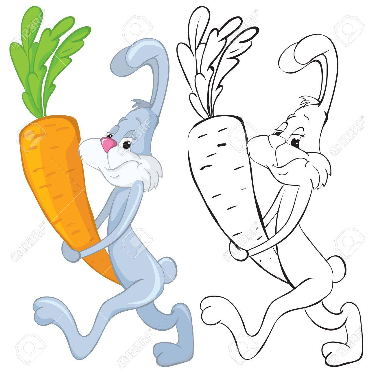 Bunny and carrot. B&W outline illustraton Stock Vector - 9284196