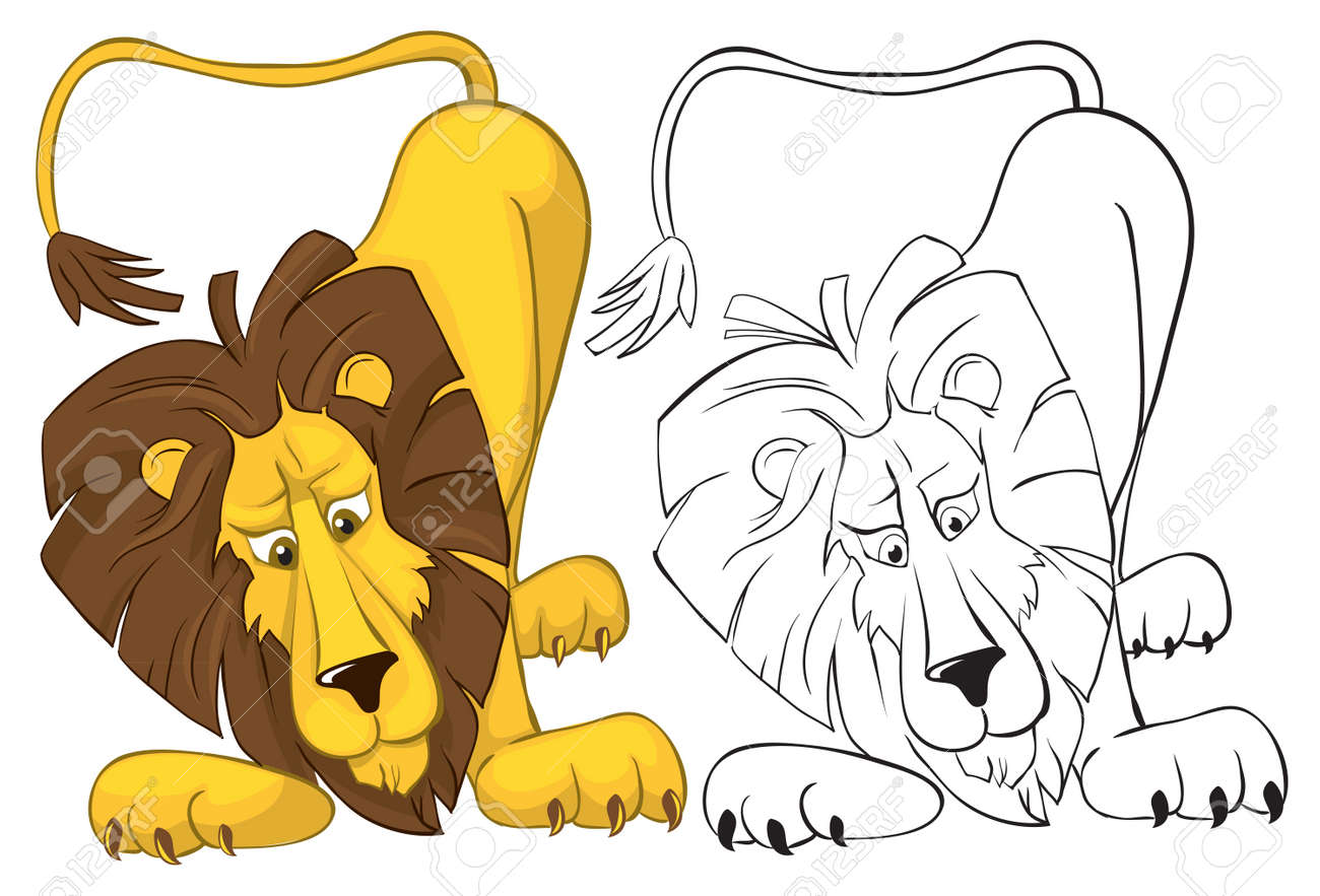surprised lion color and outline vector illustrations stock vector 9607469