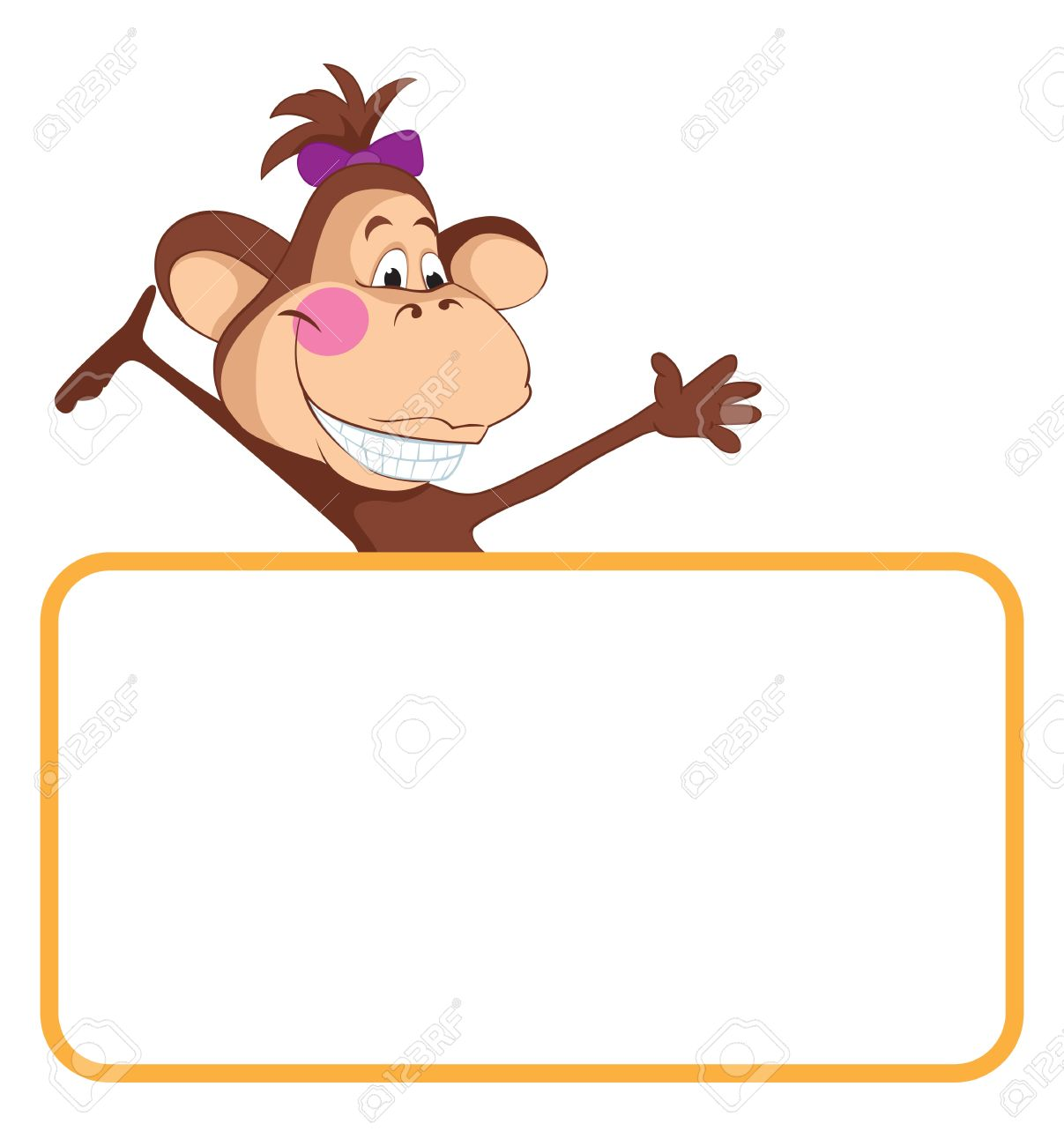 monkey cartoon label stock vector 9607463 - Monkey Picture Frame