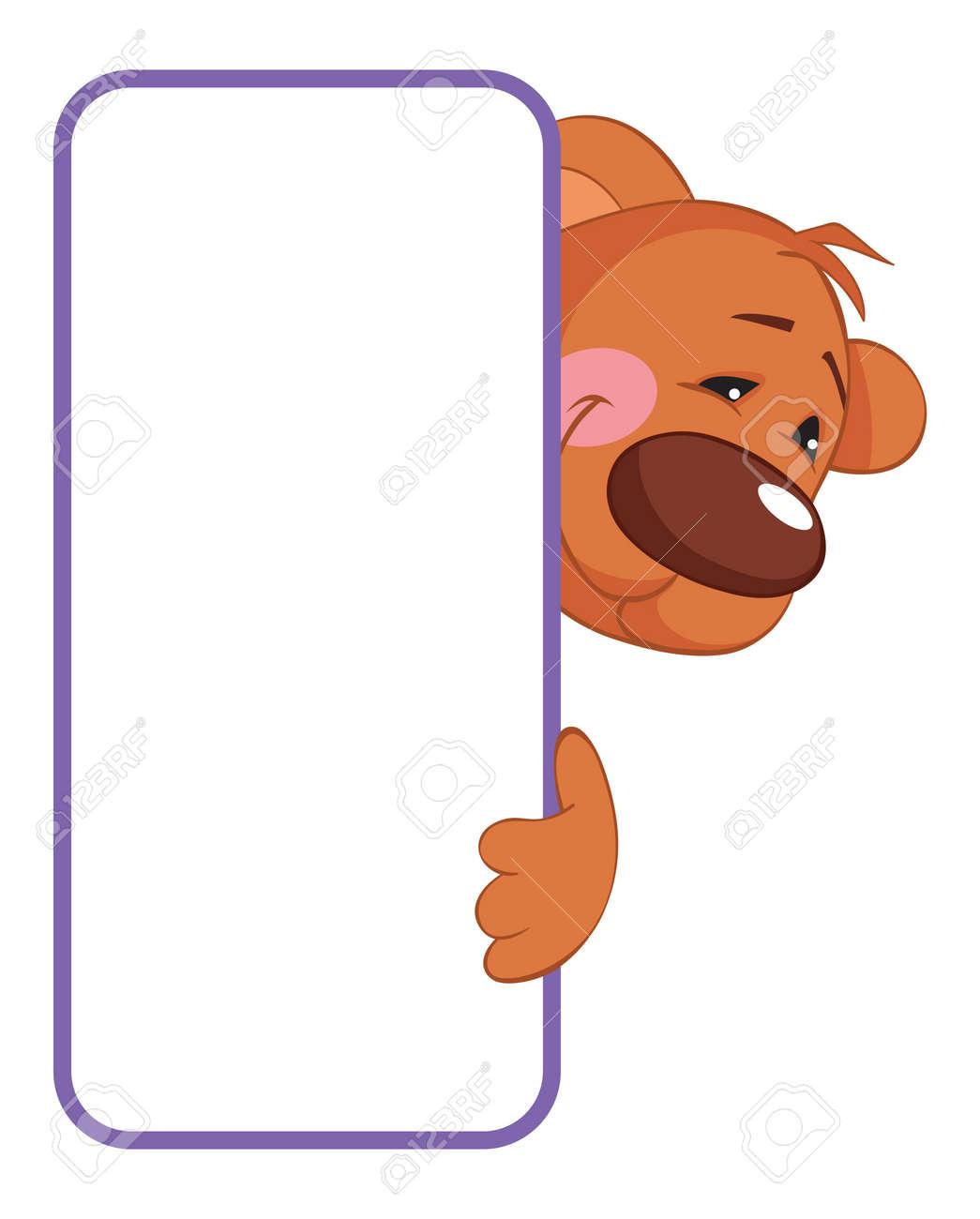 Bannière Animale De Bébé Ours étiquette De Dessin Animé