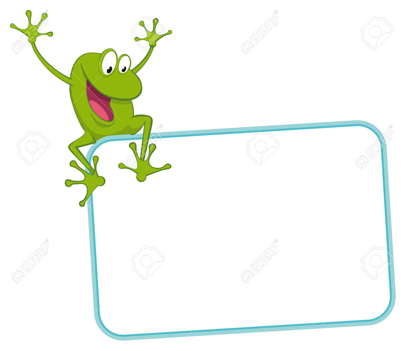 Label - Joyful Frog On The Frame Royalty Free Cliparts, Vectors, And ...