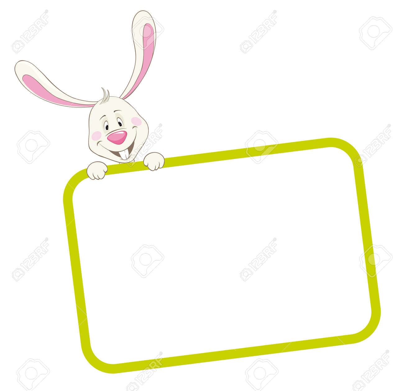 label frame rabbit stock vector 9934122