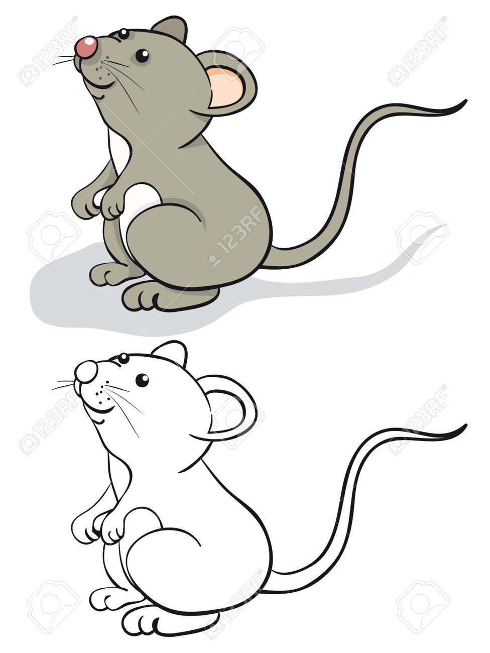 fun mouse color and contour stock vector 9934187