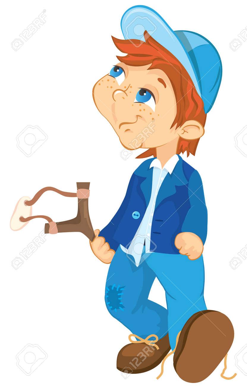 Niño Travieso Ilustración De Dibujos Animados