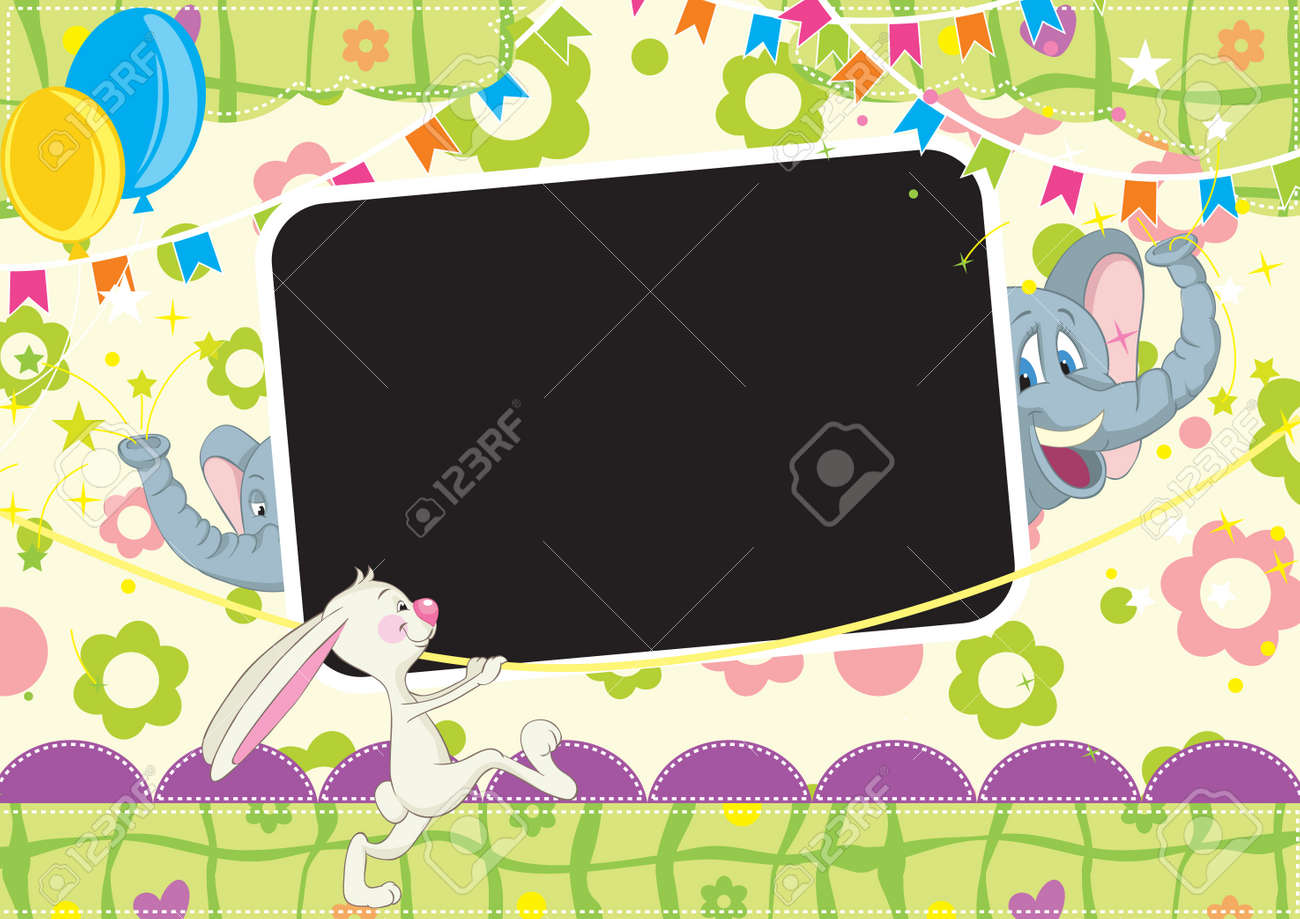 Circus party for babies  Children Frame for baby photo album All objects are located on separate layers White space for your text is easy to remove, disable delete this layer Stock Vector - 12963093
