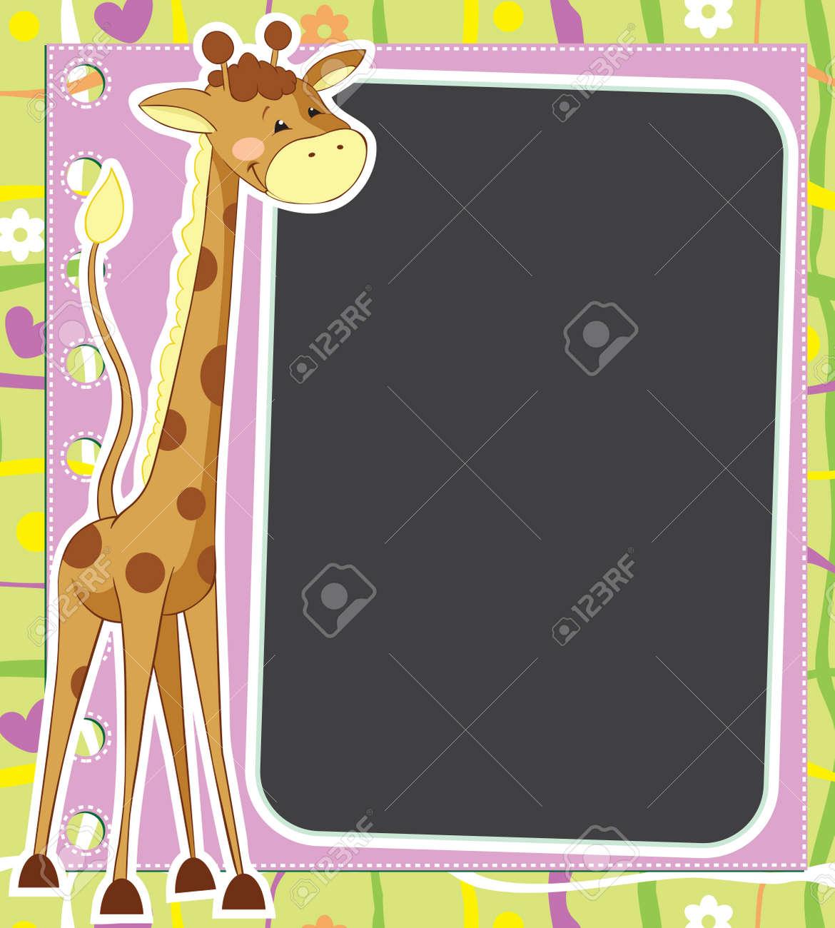 Fun framework with giraffe Stock Vector - 13307602