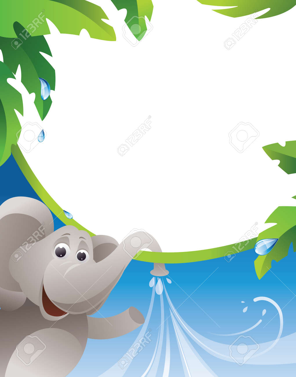 frame with elephant and water jets eps10 contains transparent objects used transparency in the jets and - Elephant Picture Frame