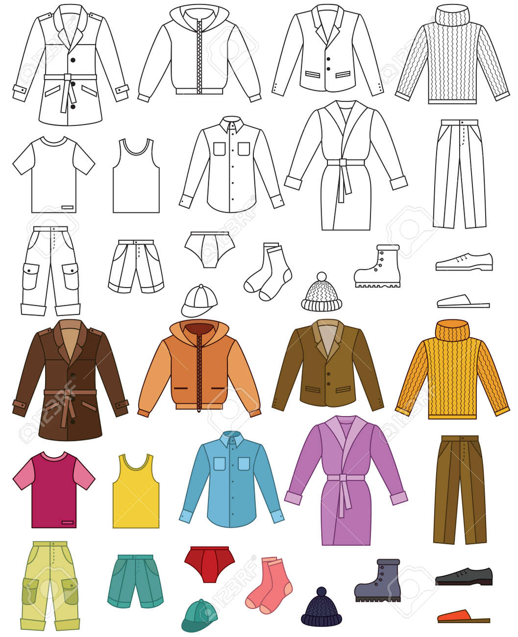 Mens clothing collection - color and outline illustrations - 14763008