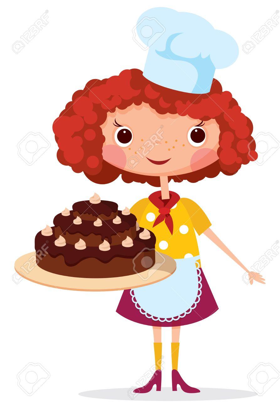 Mädchen Koch Mit Kuchen Enthält Transparente Objekte Für Schatten