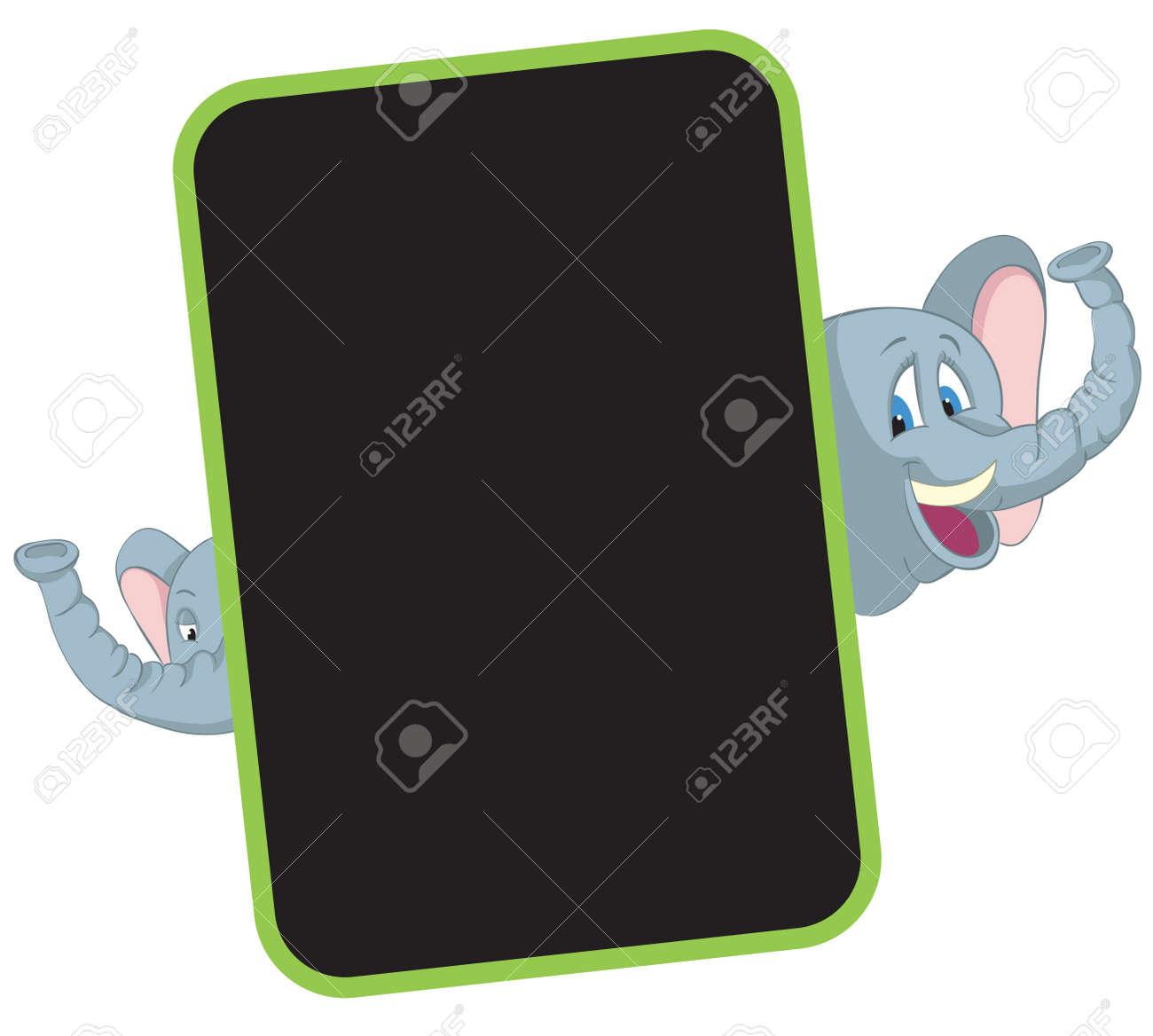 Elephant Cartoon Rahmen Kinder Rahmen Für Babyfotoalbum Lizenzfrei ...