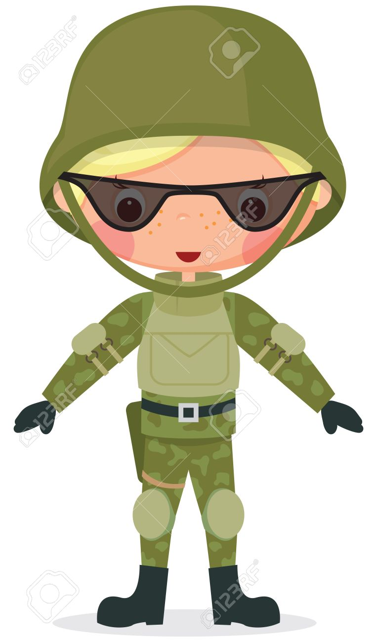 Military Cartoon Boy Transparency Used In Drawing The Shadows