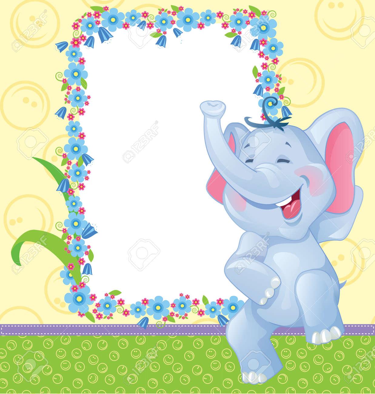 Niños Con El Elefante Marco Para El álbum De Foto Del Bebé ...