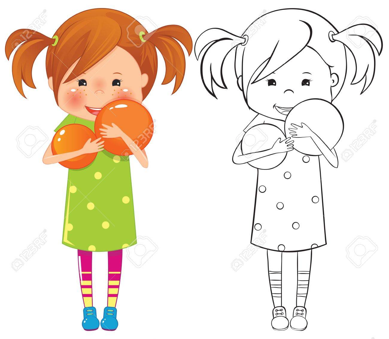 Girl with ball - color and outline illustration Stock Vector - 16647962