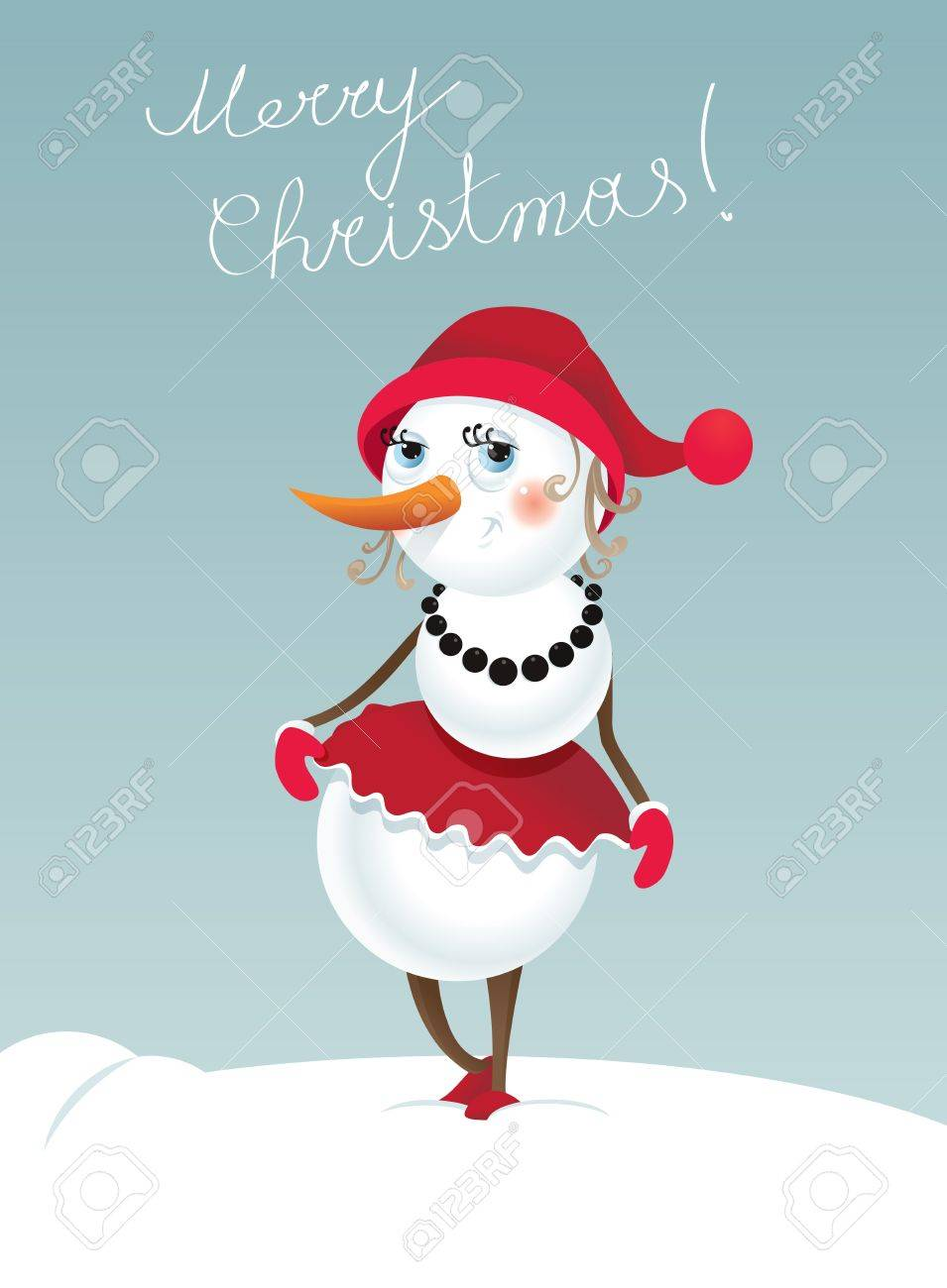 Christmas background with snowman-girl   Contains transparent objects used for shadows Stock Vector - 16953444