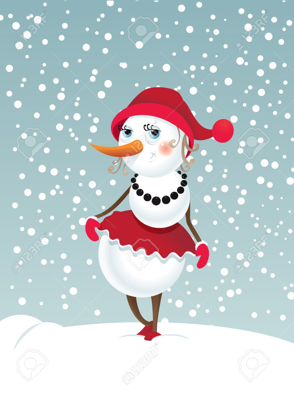 Christmas background with snowman-girl Contains transparent objects used for shadows Stock Vector - 17123826