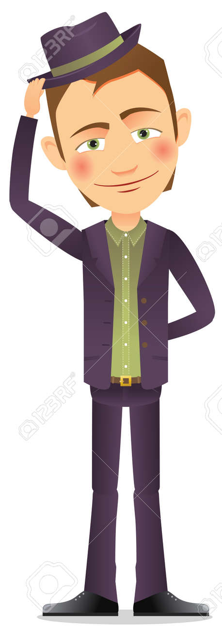 Young man in hat Stock Vector - 17312144