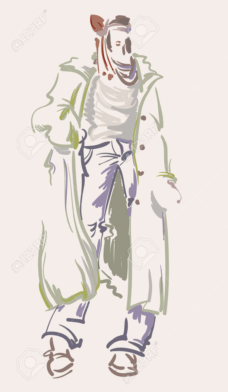 Fashion Designer Sketch Model On The Podium Vector Illustration Royalty Free Cliparts Vectors And Stock Illustration Image 108152234