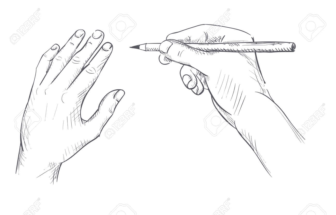 Hand with a pencil drawing sketch outline vector illustration stock vector 110190002