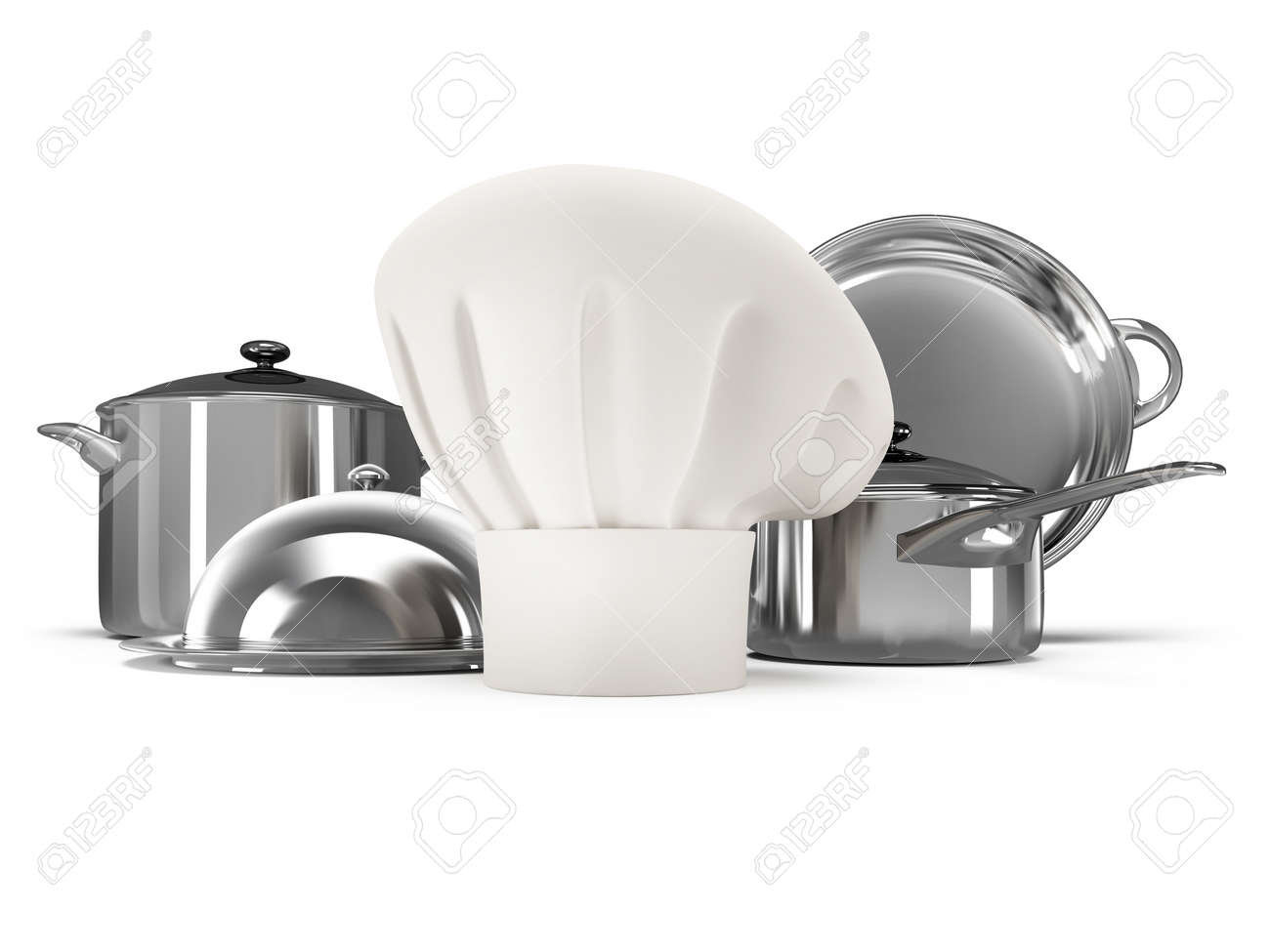 Stainless Steel Kitchenware With Chef Hat Isolated On White ...