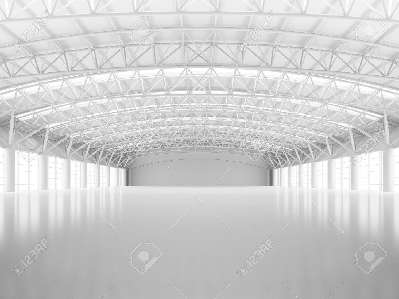 Abstract empty white warehouse interior - 49939699