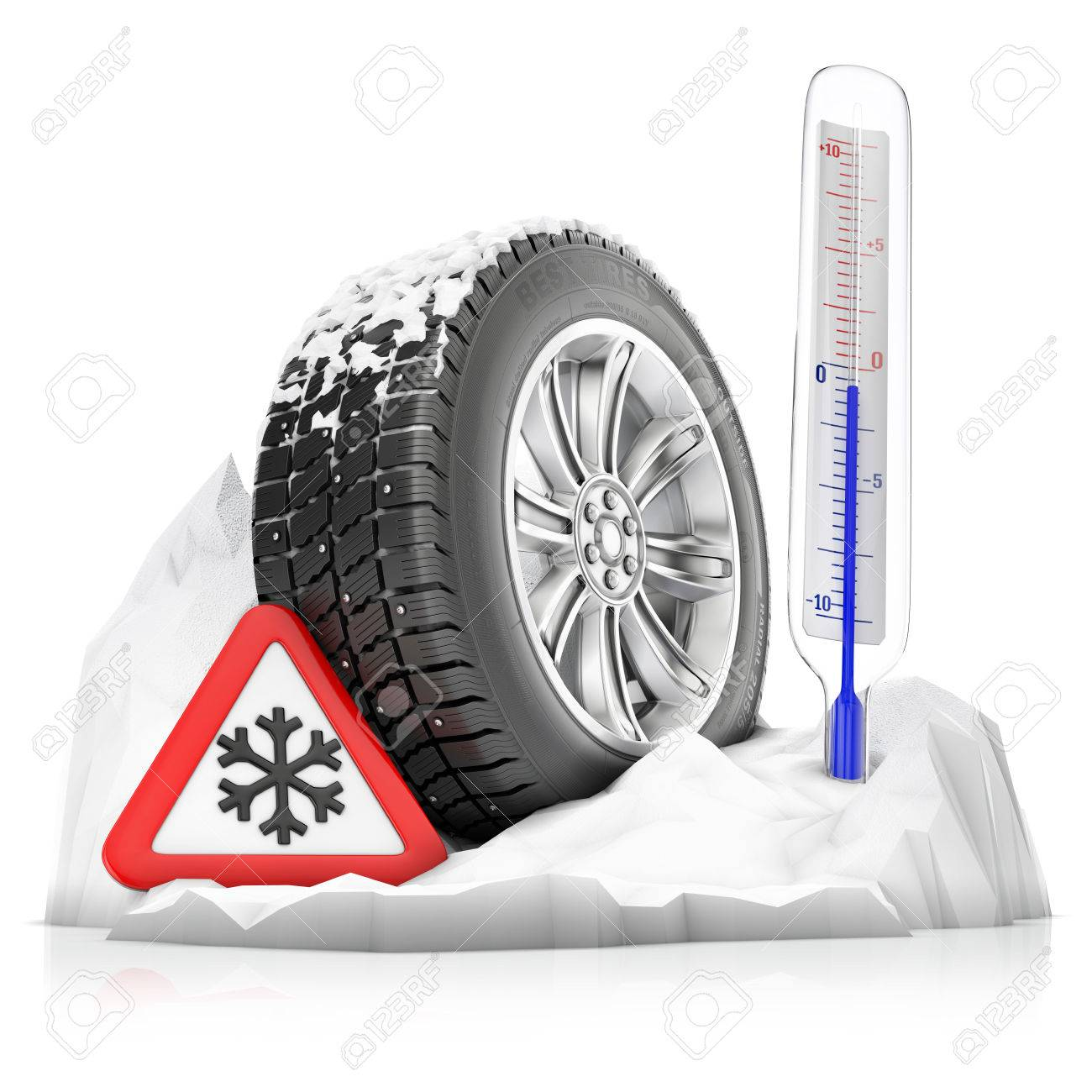 a snowbound studded winter tire with warning sign and thermometer, concept isolated on a white background - 49937409