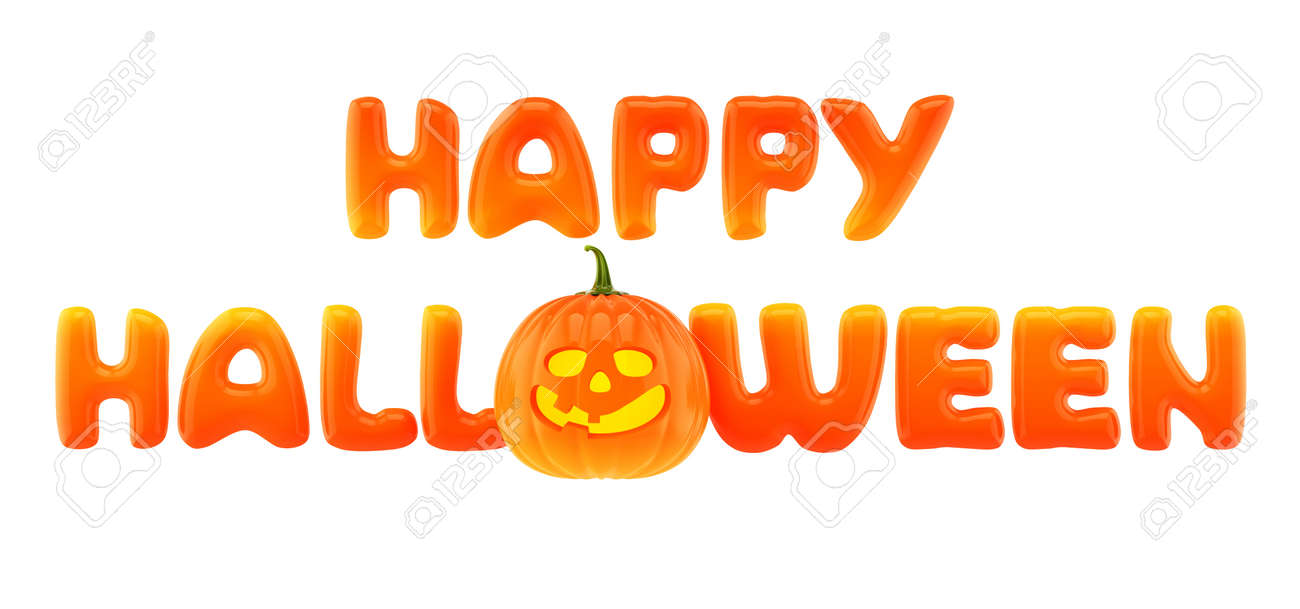 Happy Halloween Words With Jack-o-lantern Stock Photo, Picture And ...