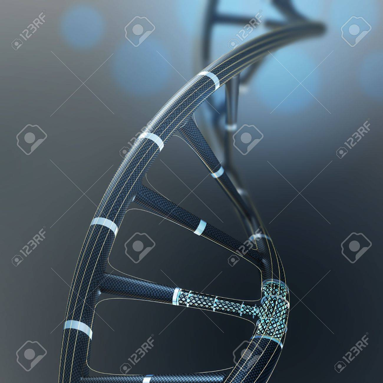 Artificial DNA molecule, the concept of artificial intelligence, on a dark background - 51350971