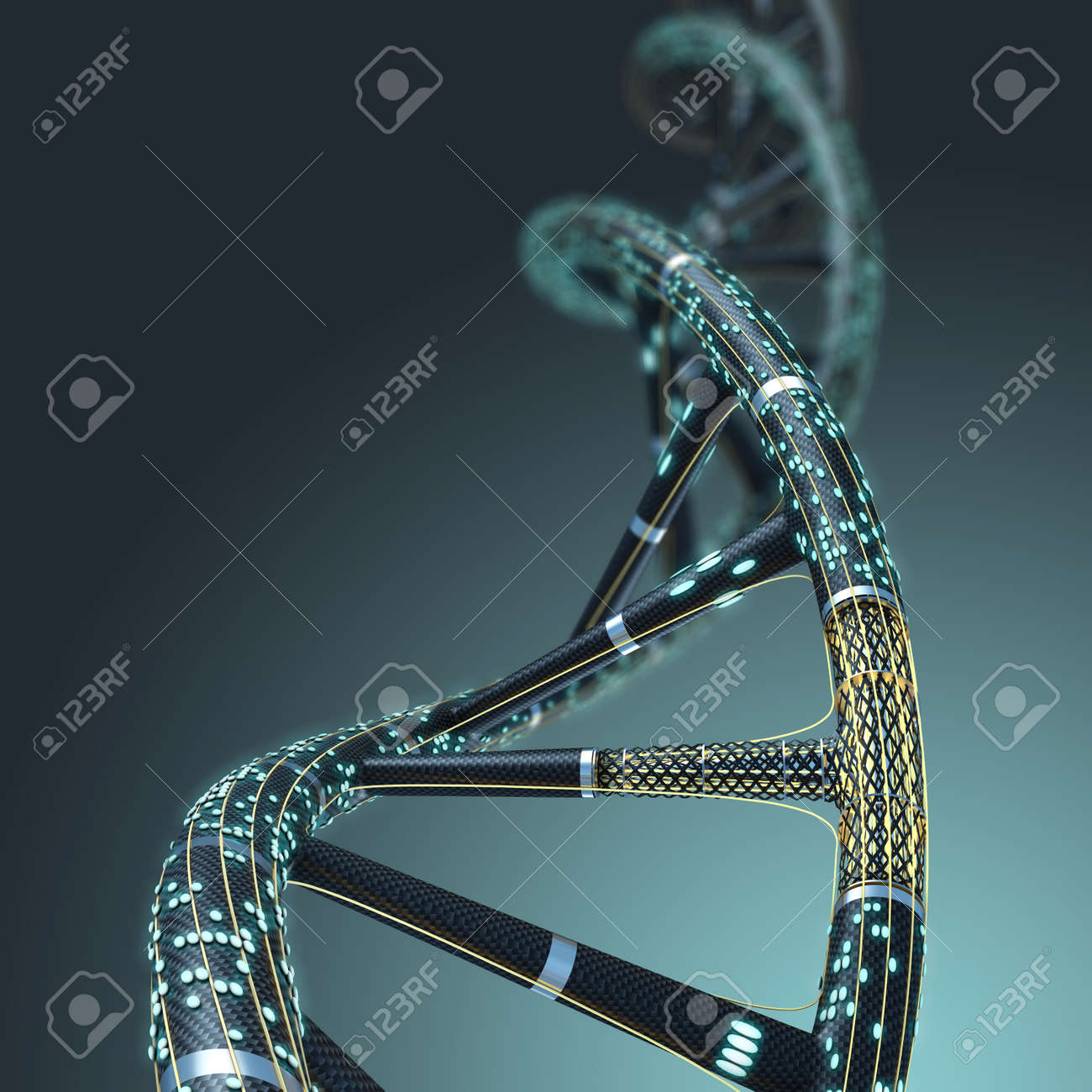 Artificial DNA molecule, the concept of artificial intelligence, on a dark background - 51350972