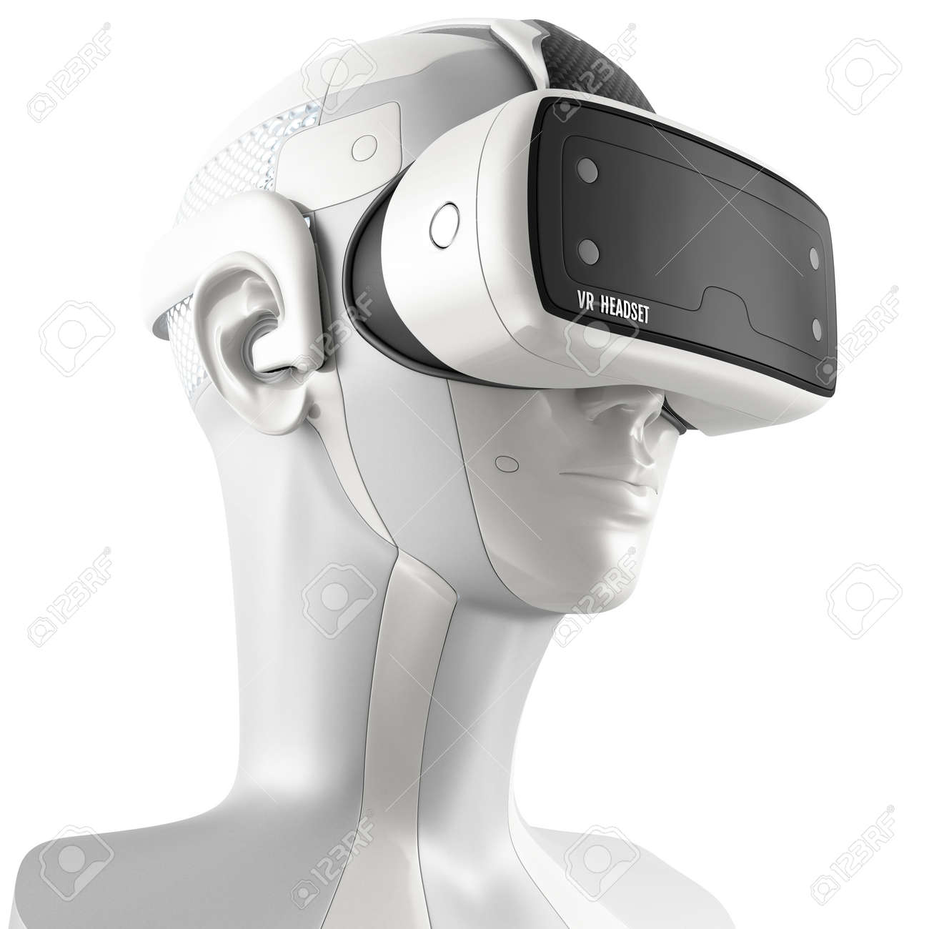 Unusual virtual reality headset with integrated headphones on a white robot. 3d concept isolated on white background. Three-quarter view. - 52231990