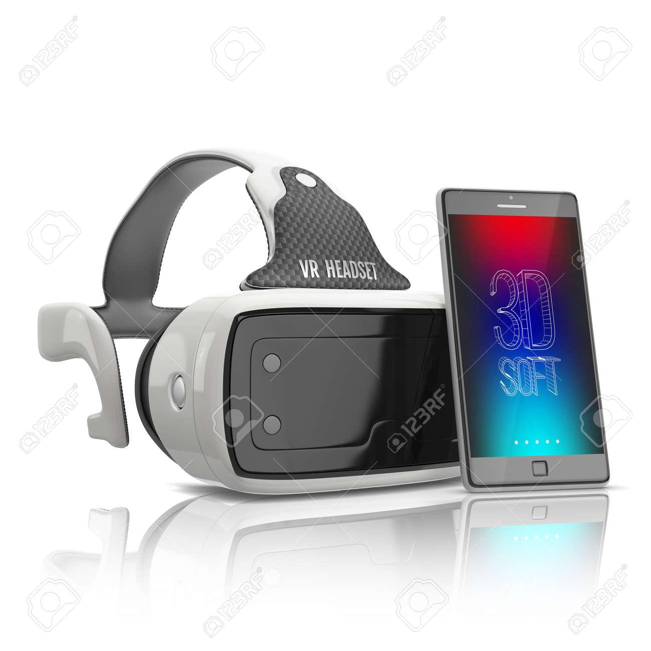 Immagini Stock Auricolare Realtà Virtuale E Smartphone Cellulare