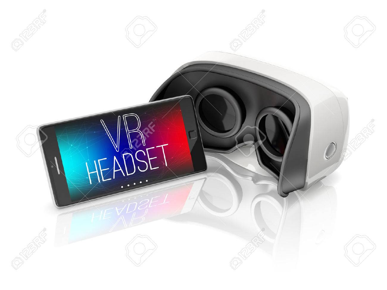 virtual reality headset and mobile smartphone on white background - 53106419