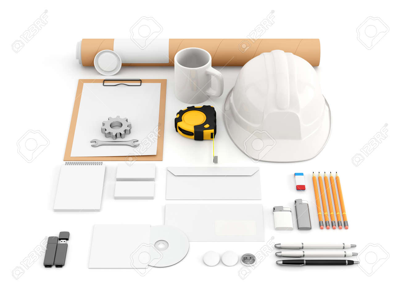 identity mock up for construction or industrial company set stock